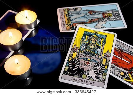 Bangkok,thailand,november.13.19. Tarot Cartomancy. Cards For Divination On A Black Background With T