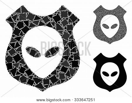 Alien Shield Composition Of Unequal Pieces In Variable Sizes And Color Tints, Based On Alien Shield