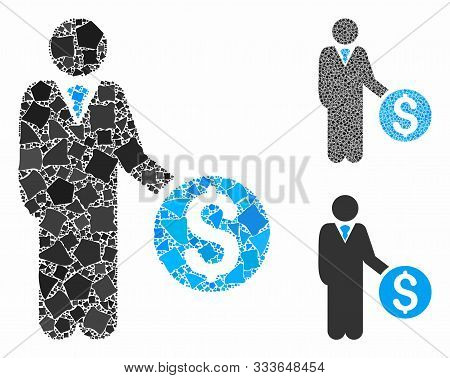 Banker Composition Of Ragged Pieces In Various Sizes And Color Tinges, Based On Banker Icon. Vector