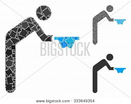 Beggar Mosaic Of Uneven Elements In Various Sizes And Color Hues, Based On Beggar Icon. Vector Rugge