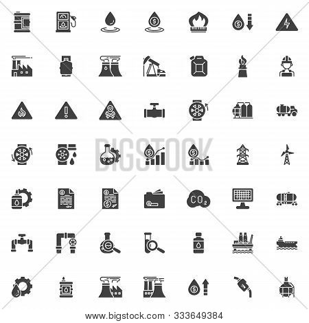 Oil Industry Vector Icons Set, Modern Solid Symbol Collection Filled Style Pictogram Pack. Signs Log