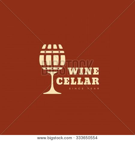 Wine Cellar Logo Design Template With Wineglass And Barrel. Vector Illustration.