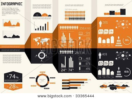Detail infographics set. World Map and Information Graphics poster