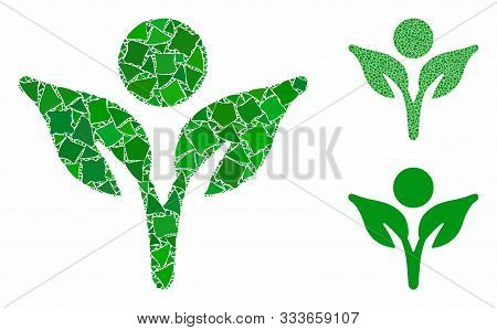Eco Man Mosaic Of Unequal Parts In Different Sizes And Color Tints, Based On Eco Man Icon. Vector Un