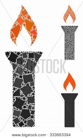 Fire Torch Mosaic Of Raggy Parts In Different Sizes And Color Hues, Based On Fire Torch Icon. Vector