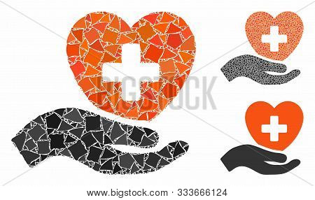 Hand Offer Cardiology Mosaic Of Irregular Parts In Variable Sizes And Color Tints, Based On Hand Off