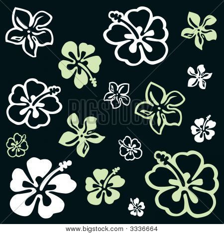 Flower Pattern Over Green