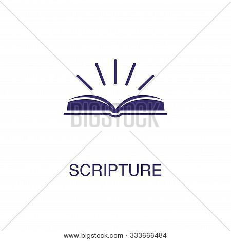 Scripture Element In Flat Simple Style On White Background. Scripture Icon, With Text Name Concept T