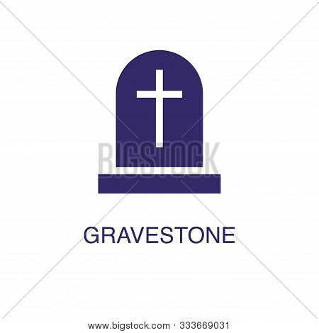 Gravestone Element In Flat Simple Style On White Background. Gravestone Icon, With Text Name Concept