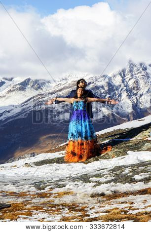 Zermatt, Switzerland - October 15, 2016: Bollywood Actors From India In Summer Costumes Are Making F