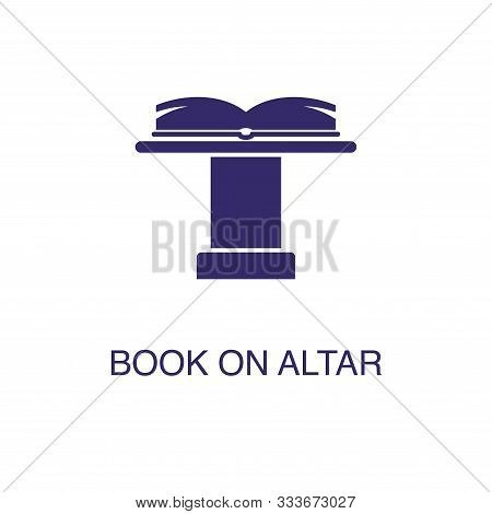 Book On Altar Element In Flat Simple Style On White Background. Book On Altar Icon, With Text Name C