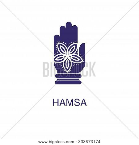 Hamsa Element In Flat Simple Style On White Background. Hamsa Icon, With Text Name Concept Template