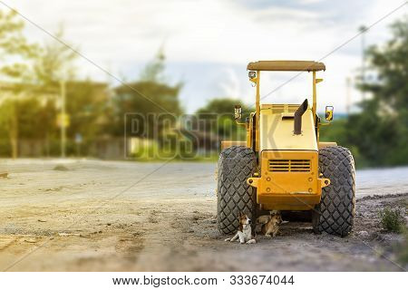 Motor Vehicle Or Heavy Roller Or Steamroller For Road Making Or Street - Highway Construction Park A