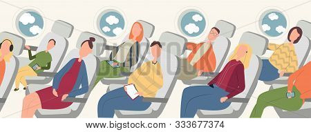 Passengers On Airplane Board Flat Vector Illustration. Cartoon People Traveling Abroad By Plane. Air