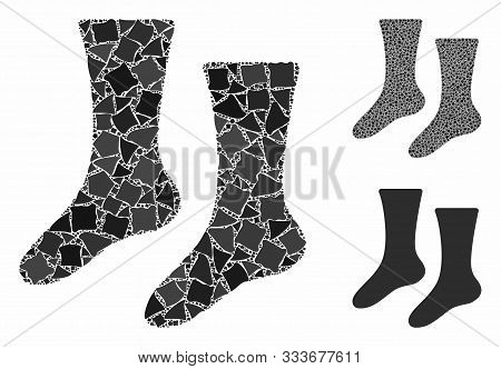 Socks Composition Of Trembly Parts In Variable Sizes And Color Tints, Based On Socks Icon. Vector Tr