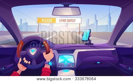 Driver Hands On Car Steering Wheel, Auto Interior With Gps On Dashboard Panel And Road View With Dri