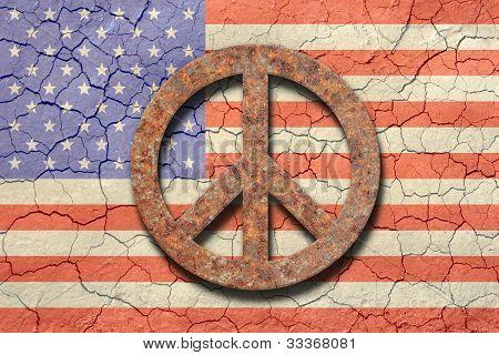 Cracking American Flag, Rusty Peace Symbol