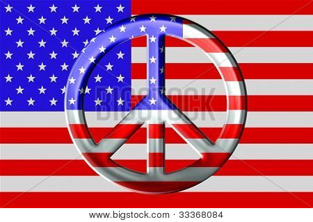 Metallic Peace Symbol and American Flag