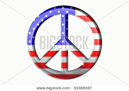 Metallic Stars and Stripes Peace Symbol