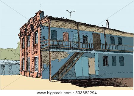 Two-story House Of The Late 19th Century In A European City, Courtyard Facade, Vector Color Illustra