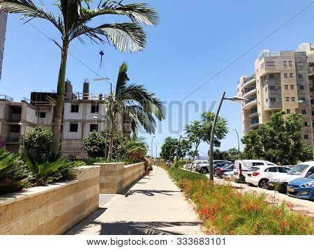 Rishon Le Zion, Israel  October 07, 2019: Residential Buildings Under Construction In The Streets Of