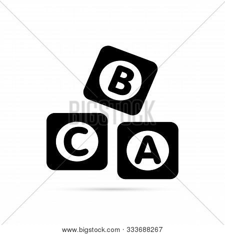 Abc Blocks Flat Icon. Alphabet Cubes With A, B, C Letters In Flat