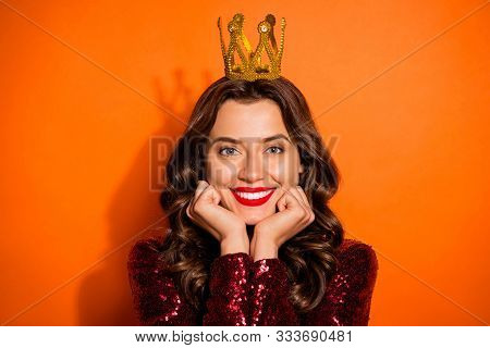 Close Up Photo Of Charming Attractive Prom Queen Girl Have Elegant Fancy Crown Feel Content Satisfie