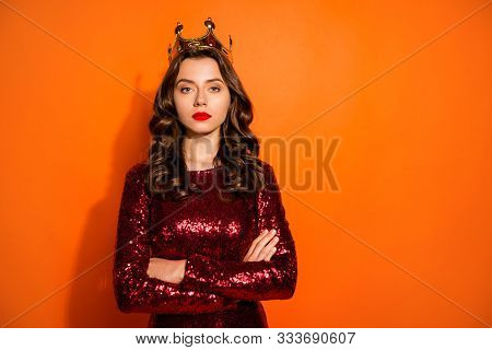 I Am Best Beauty Queen. Portrait Of Arrogant Girl With Gold Diadem Cross Her Hands Imagine She Bette