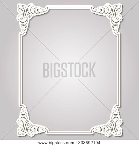Square Frame In Calligraphic Retro Style. Cut Out Paper Effect With Shadows. Can Be Used For Decorat