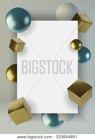 Realistic Spheres And Cubes. Abstract Background Of Primitive Geometric Figures. Design Element Of 3