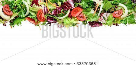Mixed Fresh Salad Leaves Frisee, Radicchio, Iceberg Lettuce, Lollo Rosso, Tomatoes Isolated On White