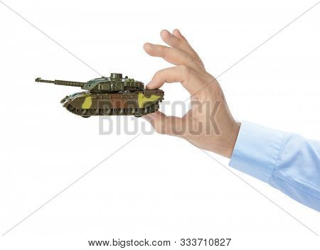 Hand with panzer isolated on white background
