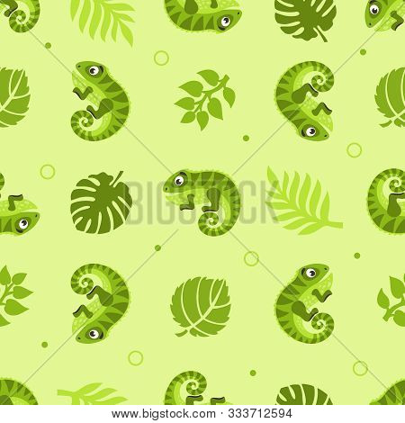 Seamless Pattern With Iguanas And Palm Leaves. Cartoon Background. Vector Illustration.