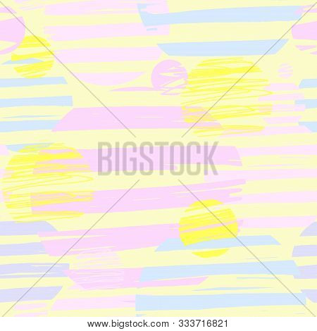 Seamless Abstract Cute Pattern With Irregular Stripes And Circles Drawn By Hand