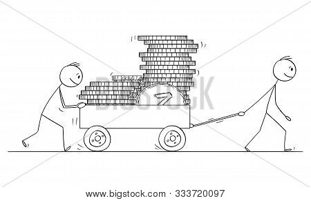 Vector Cartoon Stick Figure Drawing Conceptual Illustration Of Two Men Or Businessmen Pushing Cart O