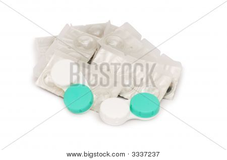 Contact Lenses Isolated On The White Background