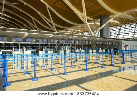 Pudon, Shanghai, China - November 30, 2008: Empty Counters At Shanghai Pudong International Airport.