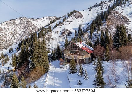 Winter Snowy Mountains with sun in Ak Bulak, Almaty, Kazakhstan, Asia