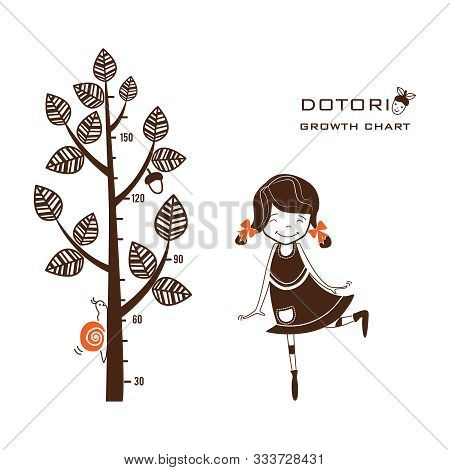 Kids Height Ruler With A Girl, A Tree And A Snail For Wall Decals, Wall Stickers - Vector