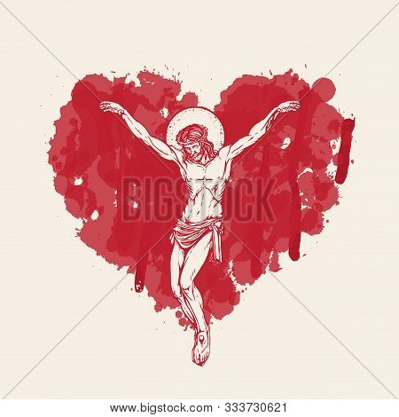 Vector Banner With Crucifix. Religious Illustration With Crucified Jesus Christ In The Abstract Red