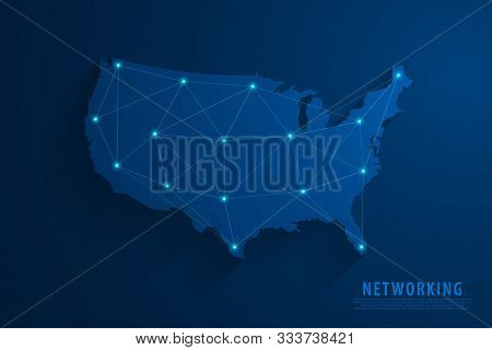 Network Connection Background, Blue Usa Map, Vector, Illustration, Eps File