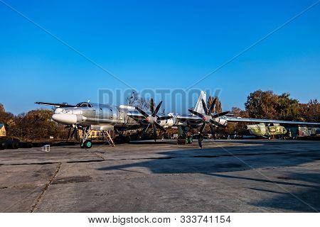 Poltava, Ukraine - October 19, 2019: Tupolev Tu-95 Bear. Russian Aerospace Forces War Four Engine Tu