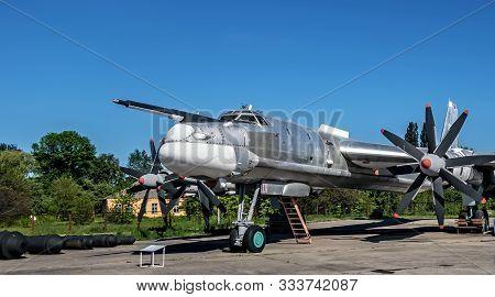 Poltava, Ukraine - October 19, 2019: Tupolev Tu-95 Bear. Russian Aerospace Forces Four Engine Turbop
