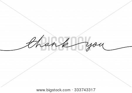 Thank You Hand Drawn Vector Modern Calligraphy. Thank You Handwritten Ink Illustration, Dark Brush P