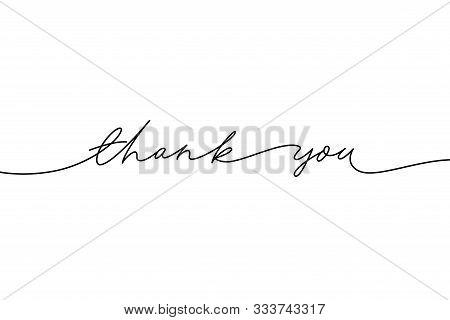 Thank You Hand Drawn Vector Modern Calligraphy. Thank You Handwritten Ink Illustration, Dark Brush P