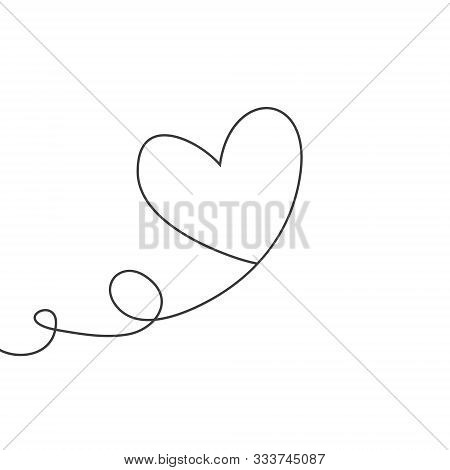 Heart Shaped Balloon In Continuous Drawing Lines In A Flat Style In Continuous Drawing Lines. Contin