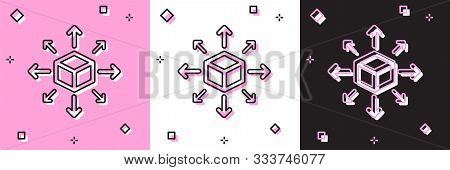 Set Distribution Icon Isolated On Pink And White, Black Background. Content Distribution Concept. Ve