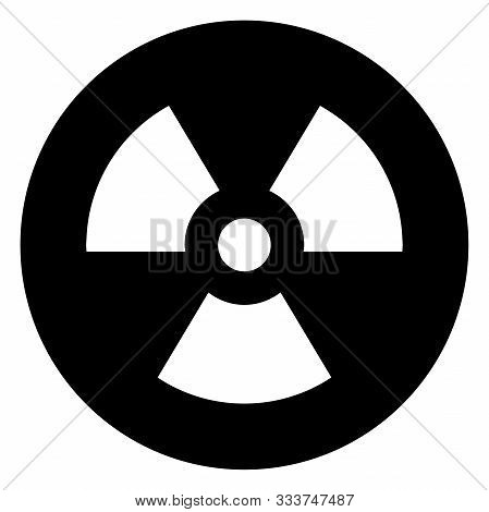 Radioactive Nuclear Hazard Sign Icon Vector Illustration Graphics Design. Black, White Color.