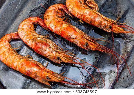 Lots Of Grilled Shrimp On A Griddle