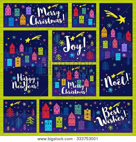 Happy New Year, Merry Christmas, Noel Collection. Christmas Tree Colorful Houses, Snowflakes Stars B